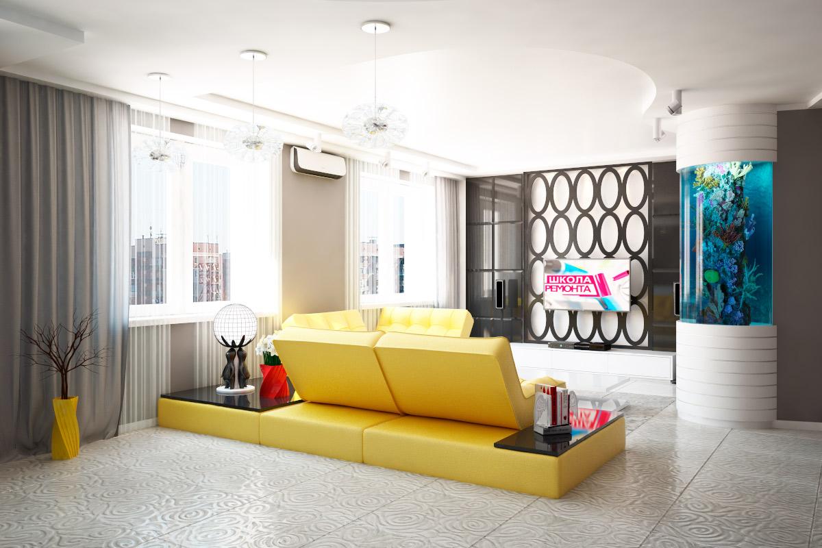 гостиная в желтым диваном