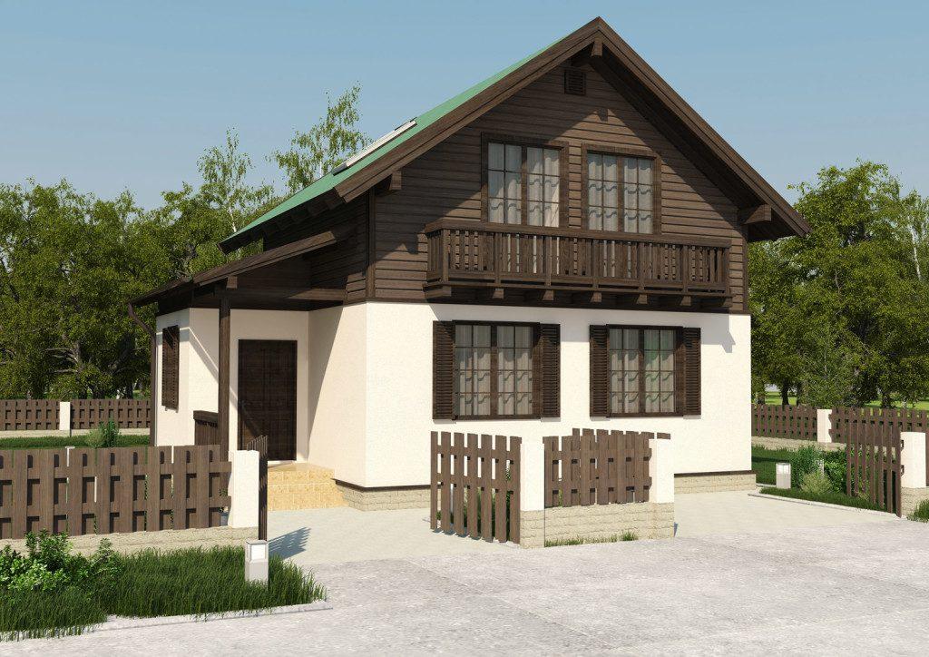 3д визуализация деревянного дома