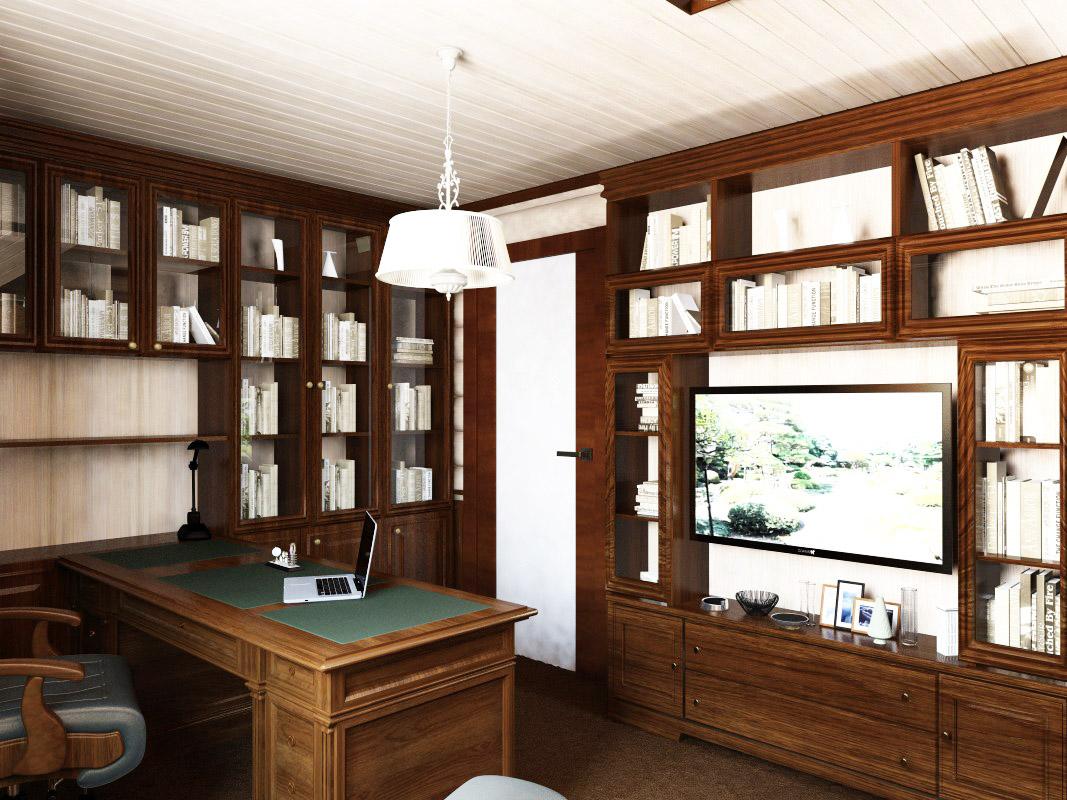 кабинет в деревянном доме