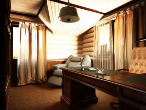 дизайн кабинета в деревянном доме